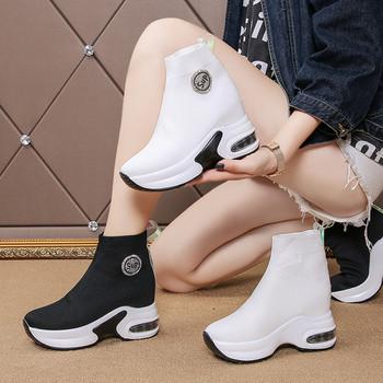Ежедневни дамски маратонки тип чорап с емблема и висока подметка