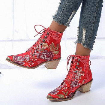 Γυναικείες μπότες φθινοπώρου-χειμώνα με χρωματιστά κεντήματα