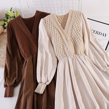 Нов модел есенна дамска рокля с V-образно деколте и средна дължина