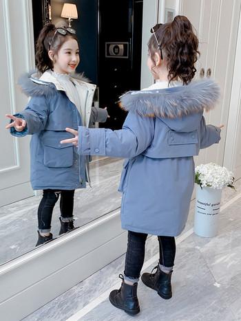 Зимно детско яке с пухена яка -дълъг модел