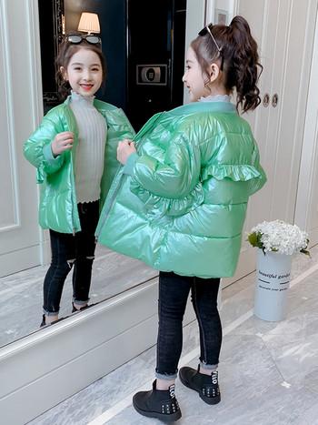 Зимно детско  зелено яке без качулка -за момичета