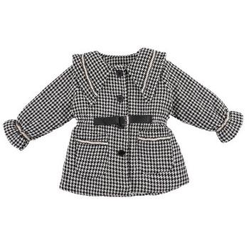 Модерно детско карирано палто с копчета и колан