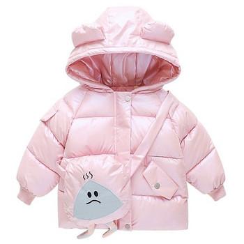 Ежедневно детско яке за момичета с цветна апликация и качулка