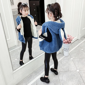 Пухен детски елек за момичета с качулка и 3D детайли