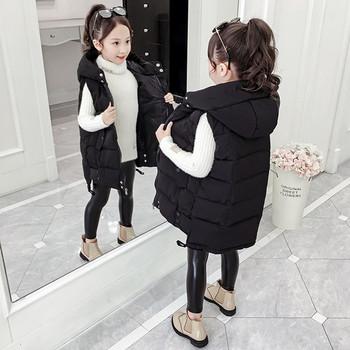 Ежедневен детски елек за момичета със средна дължина и качулка