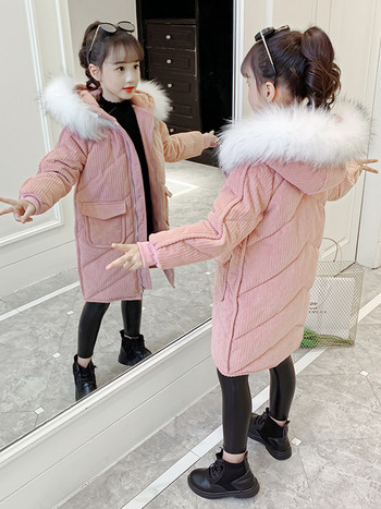 Зимно детско дълго яке с пухена качулка