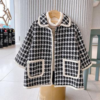 Стилно детско палто за момичета в черно-бял цвят