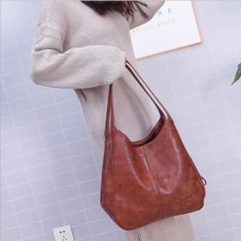Дамска удобна и широка чанта от кожа в четири модела