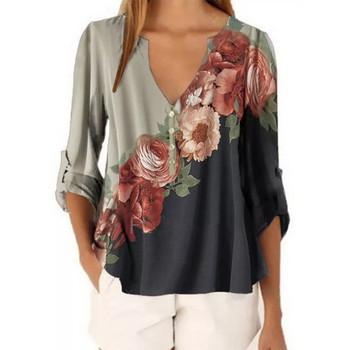 Γυναικεία μπλούζα άνοιξη-φθινόπωρο με πολύχρωμα μοτίβα και διαφορετικά χρώματα και με μεγαλύτερα μεγέθη