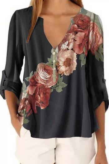 Дамска пролетно-есенна блуза с цветни мотиви и различни разцветки и включително и по-големи размери