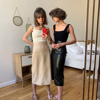 Нов модел дълга кожена пола с колан