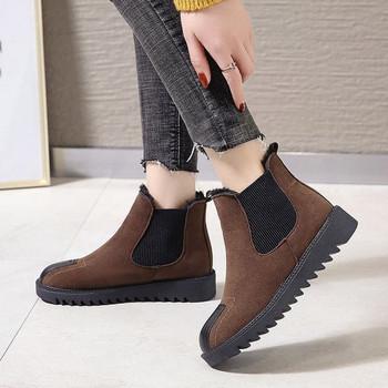 Γυναικείες σουέτ μπότες με επίπεδη σόλα και ζεστή επένδυση