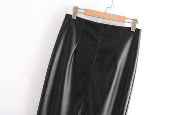 Модерна дълга кожена пола с цепка