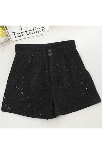 Дамски къси панталони широк модел с висока талия и копчета