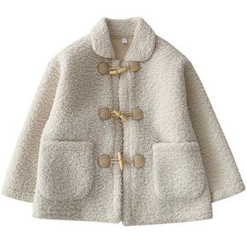 Модерно дамско пухено палто с копчета