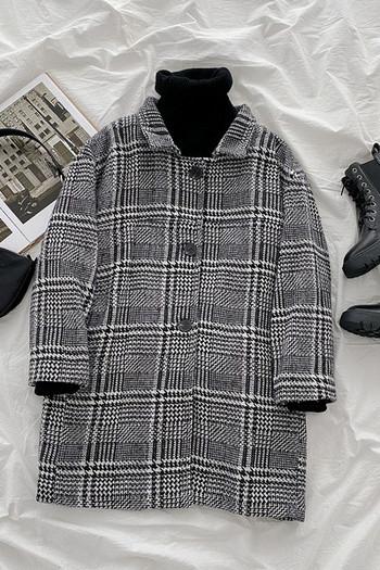 Модерно дамско карирано палто със средна дължина