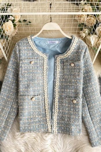Модерно дамско палто с копчета и джоб