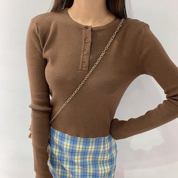 Дамска есенна блуза с копчета в няколко цвята