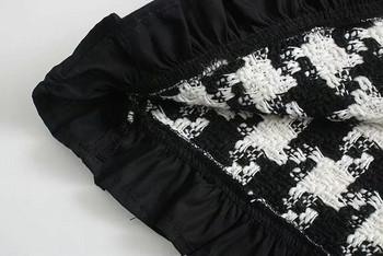 Дамска карирана блуза с голяма яка
