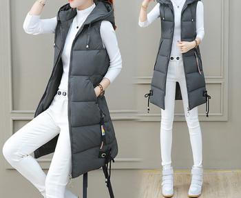 Γυναικείο γιλέκο χειμερινό μακρύ μοντέλο με κουκούλα