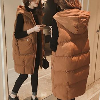 Μακρύ γυναικείο γιλέκο μοντέλο με κουκούλα και τσέπες