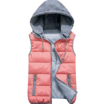 Дамски ежедневен елек с качулка и цип - подходящ за зимата