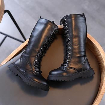Παιδικές μπότες για κορίτσια με επίπεδη σόλα και κορδόνια