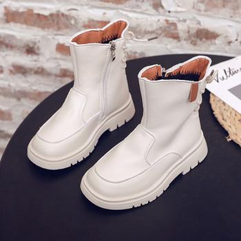 Νέο μοντέλο παιδικές έκο δερμάτινες μπότες  με φερμουάρ για κορίτσια
