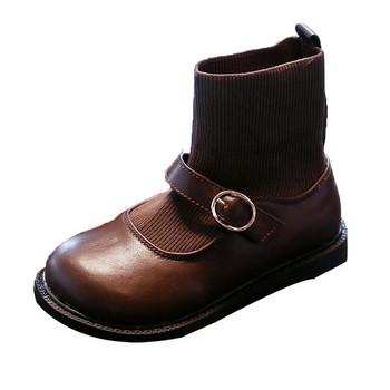 Παιδικές μπότες από οικολογικό δέρμα και υφάσματα με αγκράφα