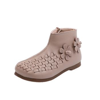 Φθινοπωρινές παιδικές μπότες για κορίτσια από οικολογικό δέρμα με λουλούδια