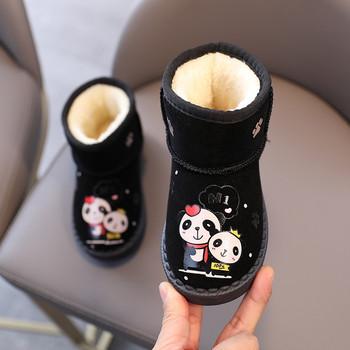 Παιδικές μπότες σουέτ με απλικέ και ζεστή επένδυση