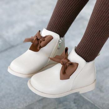 Νέο μοντέλο παιδικές μπότες με κορδέλα για κορίτσια από οικολογικό δέρμα