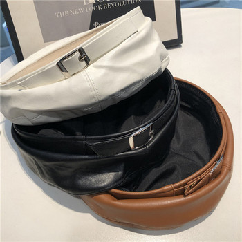 Дамска ежедневна шапка от изкуствена кожа - тип барета