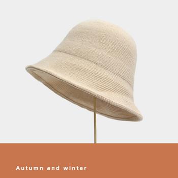 Есенно-зимна вълнена шапка тип рибарска