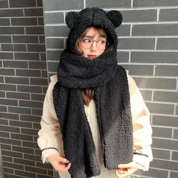 Зимна дамска шапка с 3D елементи  и шал