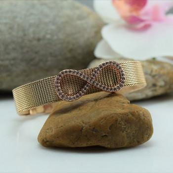 Гривна MESH в  цвят  розово злато с талисман \