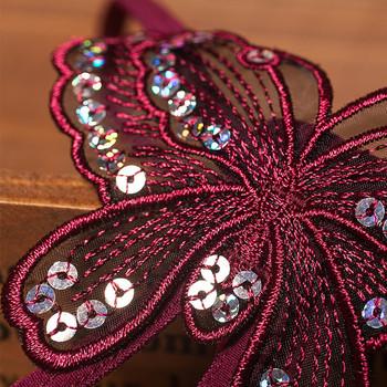 Изрязан модел дамски прашки с перли и бродерия пеперуда с пайети