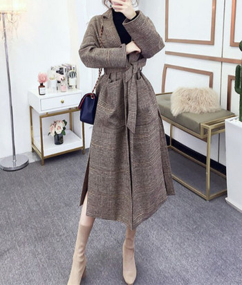 Дамско вълнено палто с джобове и колан