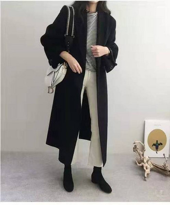 Нов модел дълго дамско палто с колан и широки ръкави-ретро стил