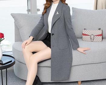 Модерно дамско вълнено палто с джобове