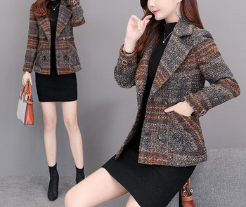 Модерно дамско палто с джобове и шпиц деколте