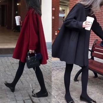 Нов модел широко дамско палто с джобове и размери до 3XL