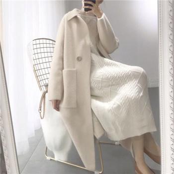 Нов модел дълго дамско палто с джобове в два цвята