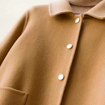 Нов модел късо дамско палто с копчета и джобове