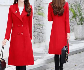 Нов модел дамско палто втален модел с шпиц деколте