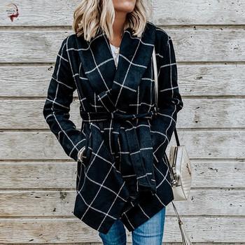 Вълнено асиметрично палто с колан