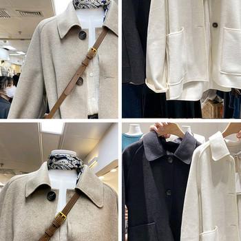 Късо дамско палто с копчета и класическа яка