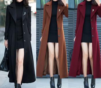 Дамско дълго вълнено палто с копчета