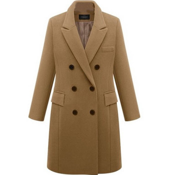 Нов модел есенно палто с дължина до коляното и двуредно закопчаване - големи размери