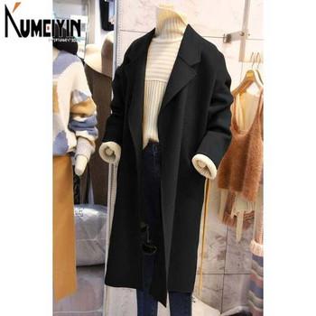 Дълго вълнено палто широк модел за жени